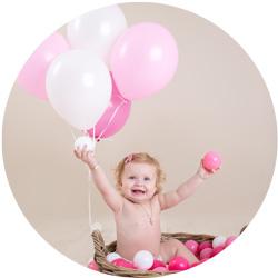 Ettårsfotograferinger og ballonger