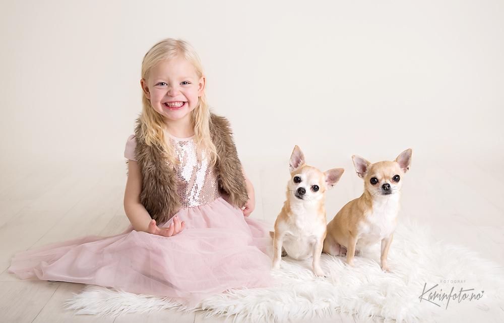 Barnefotograf,KarinPedersen,barnefotografering,barn,3år,hundefoto,fotografering,studio,hund,chihuahua